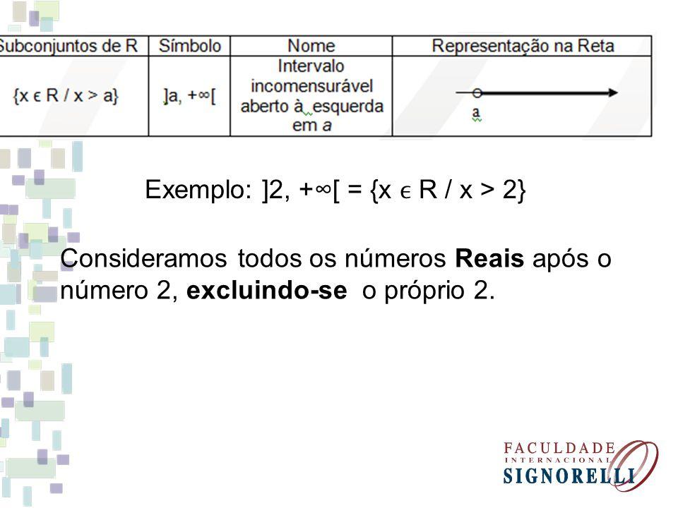 Exemplo: ]2, +∞[ = {x ϵ R / x > 2}